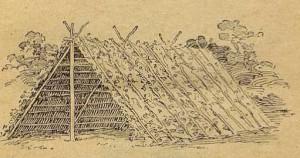 Рис. 9. Двускатный шалаш из веток.